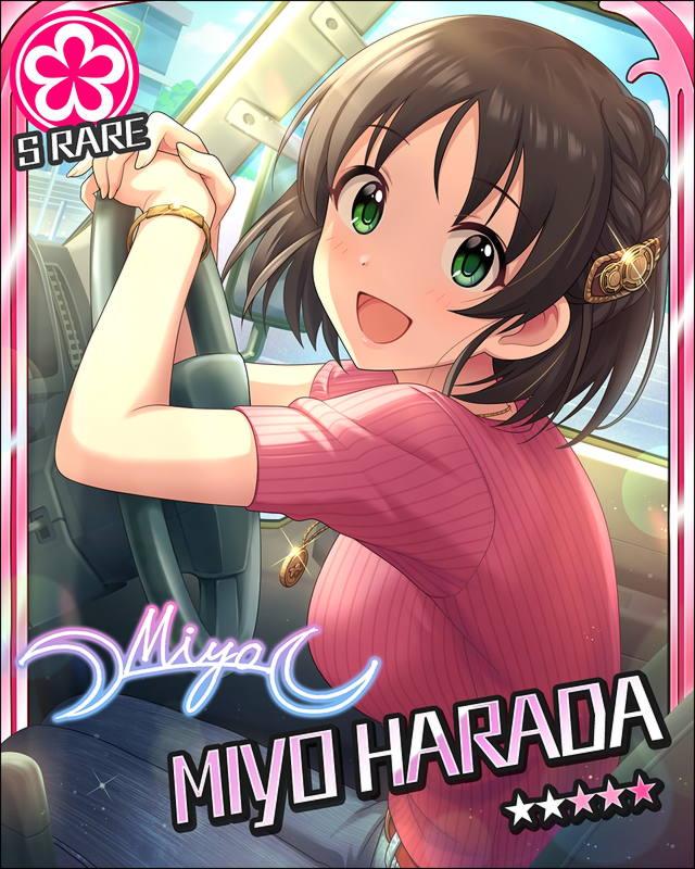 blush brown_hair car character_name green_eyes harada_miyo idolmaster idolmaster_cinderella_girls shirt short_hair smile stars