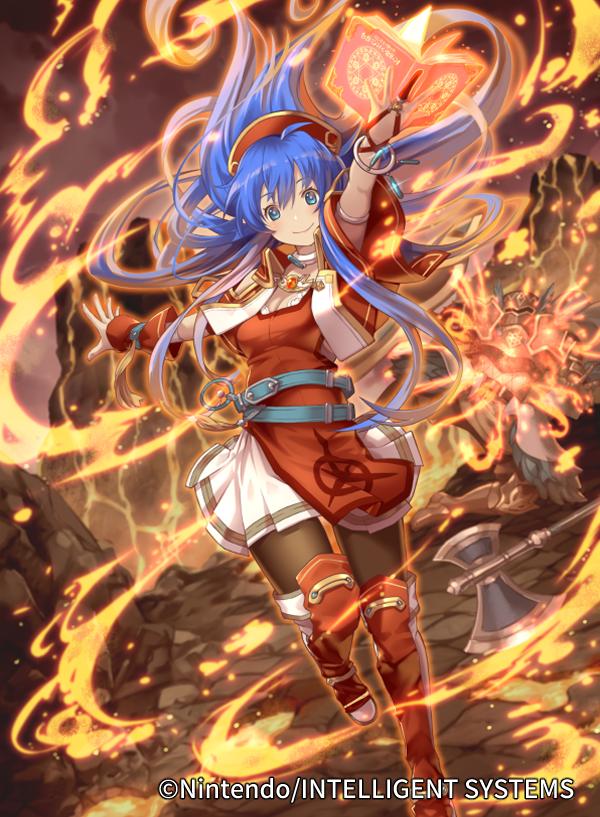 blue_hair book bracelet fire fire_emblem fire_emblem:_the_binding_blade fire_emblem_cipher hat i-la jewelry lilina_(fire_emblem) long_hair official_art red_robe smile volcano weapon