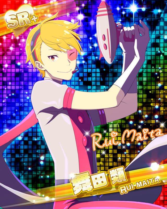 blonde_hair character_name dress gun idolmaster idolmaster_side-m maita_rui red_eyes short_hair smile wink