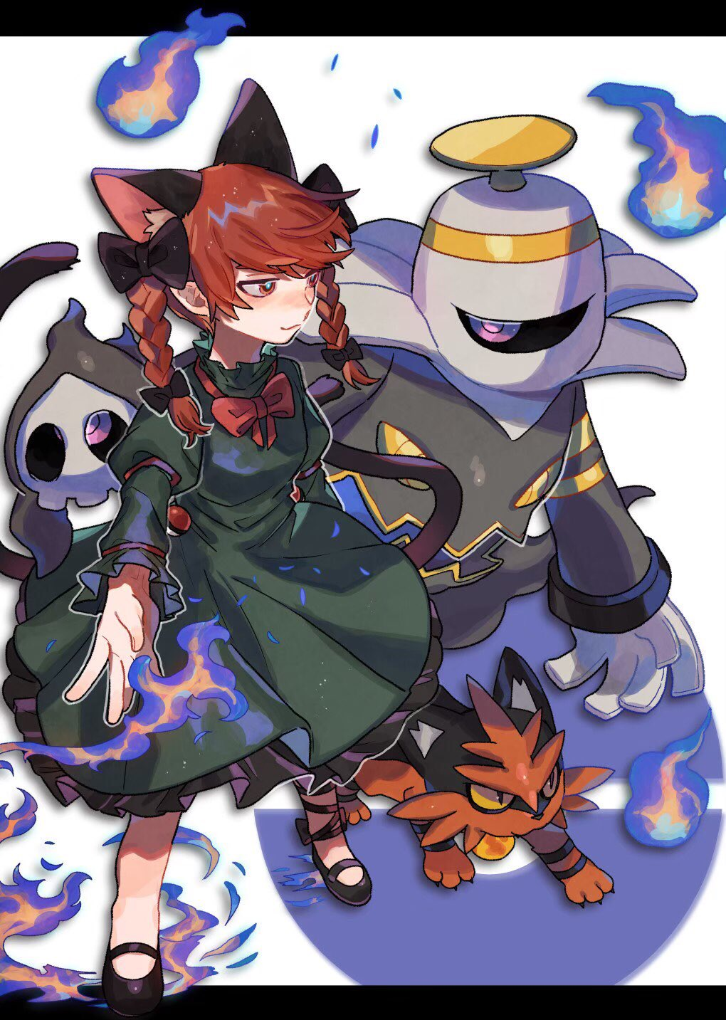 animal_ears bangs black_bow black_footwear black_ribbon blue_fire bow braid cat_ears cat_tail commentary crossover damenaito dress dusknoir duskull extra_ears eyebrows_behind_hair fire frilled_dress frilled_sleeves frills gen_3_pokemon gen_4_pokemon gen_7_pokemon green_dress hair_bow highres hitodama juliet_sleeves kaenbyou_rin leg_ribbon letterboxed long_hair long_sleeves looking_at_another mary_janes multiple_tails nekomata outstretched_arm poke_ball poke_ball_symbol pokemon pokemon_(creature) puffy_sleeves red_eyes red_neckwear redhead ribbon shoes sleeve_ribbon standing tail torracat touhou trait_connection twin_braids two_tails