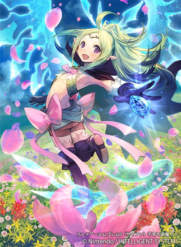 1girl ahoge boots bow cape circlet dragon_horns dragon_tail dragon_wings dragonstone field fire_emblem fire_emblem_awakening fire_emblem_cipher flat_chest flower flower_field green_hair heart heart_necklace high_collar horns kawasumi_mahiro manakete midriff nowi_(fire_emblem) official_art pink_bow pointy_ears ponytail purple_cape short_shorts shorts tail thigh-highs thigh_boots violet_eyes wings
