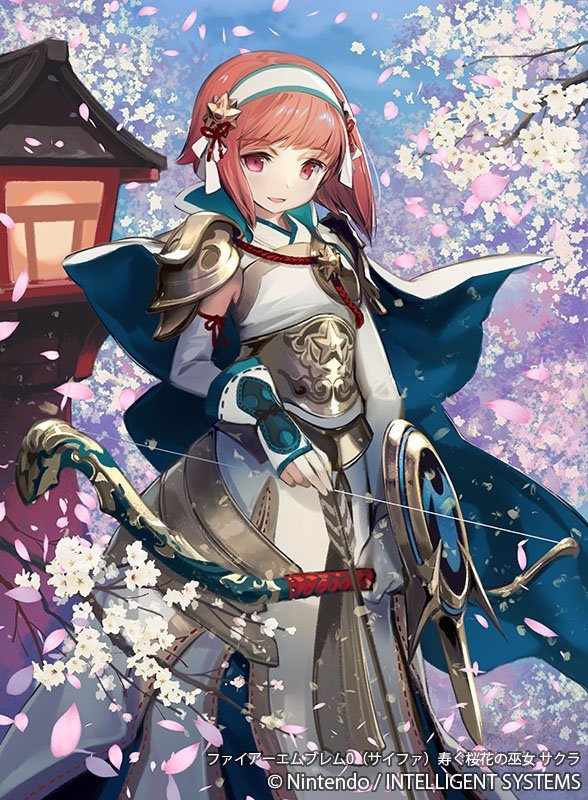 1girl arm_shield armor armored_skirt arrow_(projectile) bangs breastplate capelet cherry_blossoms elbow_gloves fingerless_gloves fire_emblem fire_emblem_cipher fire_emblem_fates gloves hair_ornament hairband japanese_armor japanese_clothes kawasumi_mahiro outdoors pink_eyes pink_hair sakura_(fire_emblem) shoulder_armor smile yumi_(bow)