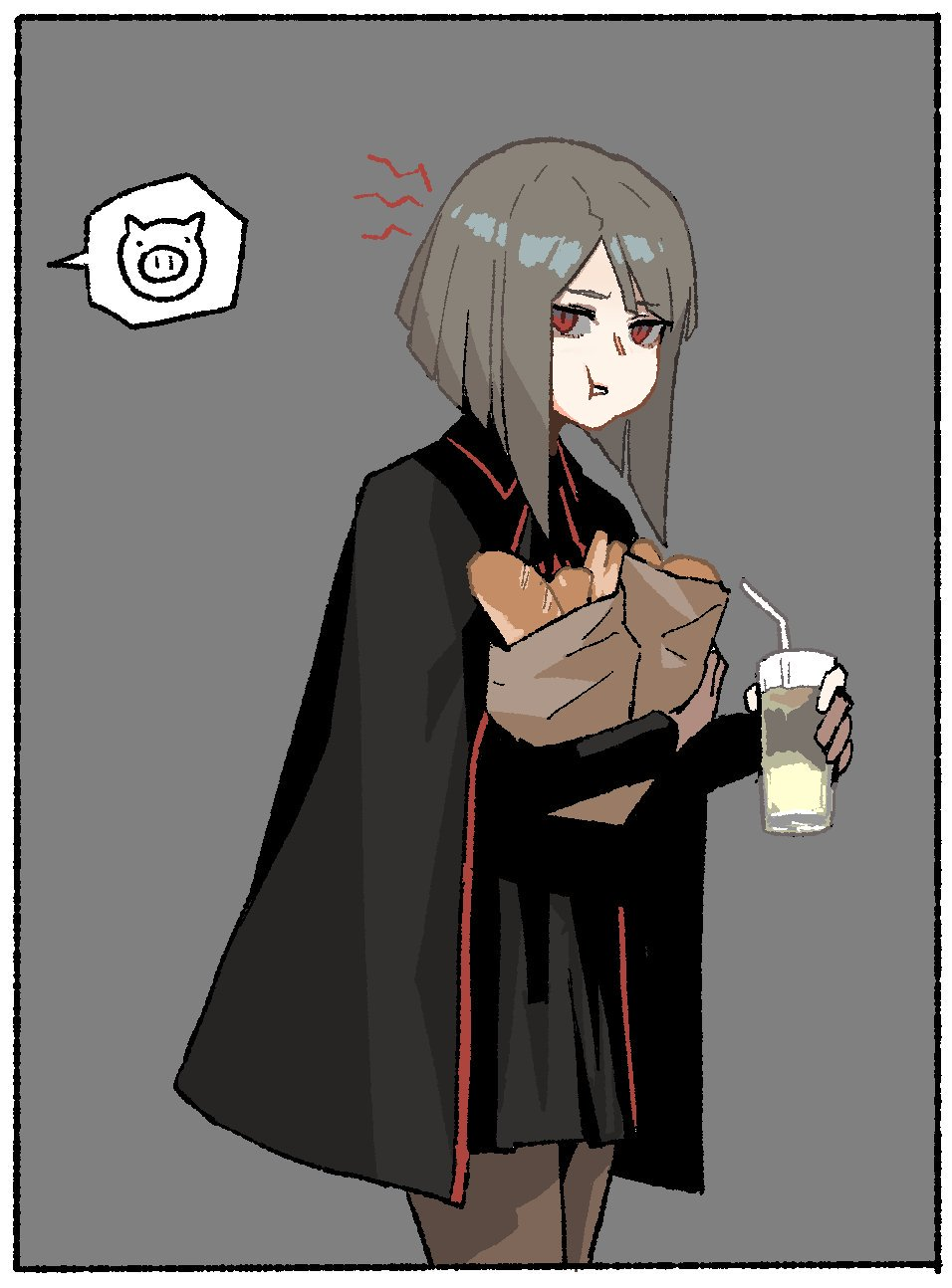 1girl :t bag black_cape black_skirt bob_cut border bread brown_legwear cape collared_cape cowboy_shot cup drinking_glass drinking_straw eating food from_side gogalking grey_hair grocery_bag highres holding holding_bag holding_cup looking_at_viewer looking_to_the_side medium_hair original out_of_frame pantyhose paper_bag pleated_skirt red_eyes rosna_(gogalking) shopping_bag skirt solo spoken_animal standing white_border