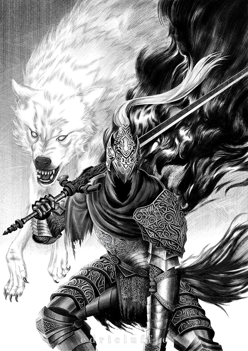 1boy animal armor artorias_the_abysswalker blank_eyes breastplate cape commentary cowboy_shot dark_souls faceless faceless_male facing_viewer fangs faulds full_armor gauntlets great_grey_wolf_sif greatsword greaves helmet highres holding holding_sword holding_weapon hood hood_up knight leaning_forward luffie male_focus monochrome open_mouth over_shoulder plume single_pauldron souls_(from_software) sword weapon wolf