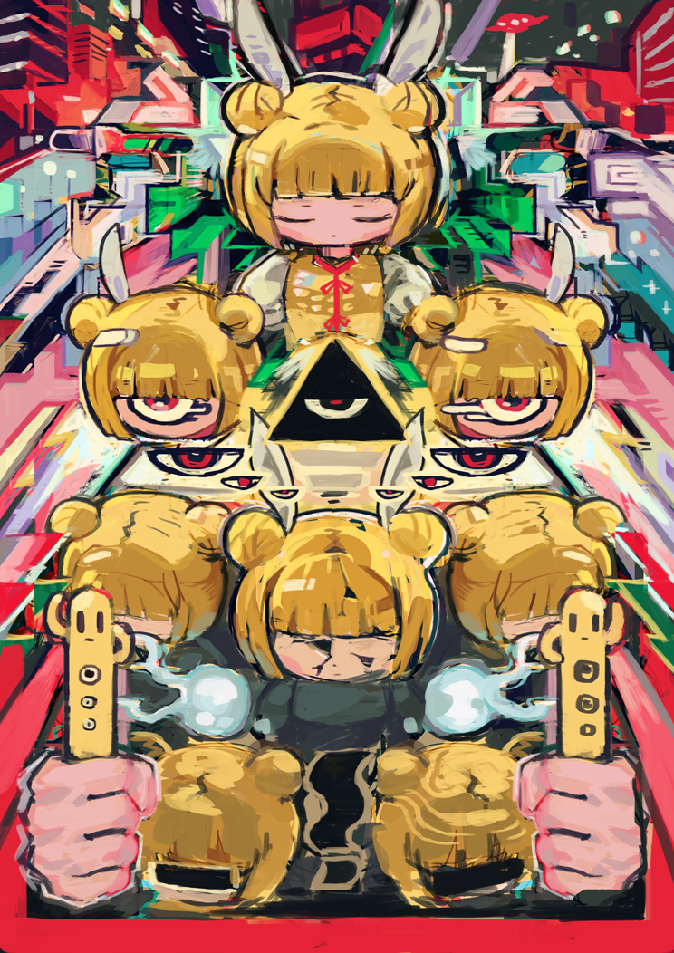1girl abstract abstract_background bangs blonde_hair blunt_bangs closed_eyes colorful crack cyclops double_bun fairy_wings hito_(nito563) holding joutouguu_mayumi no_nose one-eyed puffy_short_sleeves puffy_sleeves red_eyes shirt short_sleeves solo surreal touhou wings yellow_shirt