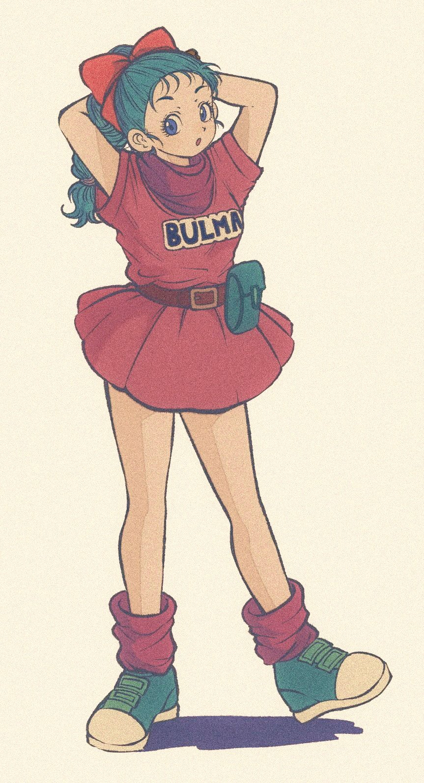 1girl :o arms_behind_head arms_up bare_legs beige_background belt blue_eyes blue_footwear blue_hair braid braided_ponytail breasts bulma character_name clothes_writing dragon_ball dragon_ball_(classic) dress expressionless eyelashes facing_viewer fanny_pack full_body hair_ribbon highres looking_away loose_socks parted_lips pikurusu pink_dress purple_legwear purple_neckwear purple_scarf red_ribbon ribbon scarf shadow shoes short_dress short_sleeves simple_background small_breasts sneakers socks solo standing standing_on_one_leg tareme