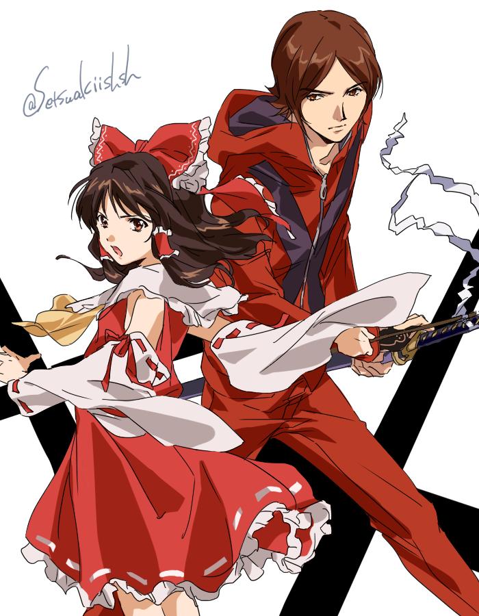 1boy 1girl brown_eyes brown_hair hakurei_reimu katana nontraditional_miko persona persona_2 suou_tatsuya sword touhou weapon