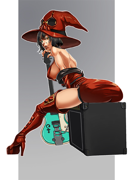 1girl black_hair boots breasts guilty_gear guitar hat heterochromia high_heels i-no instrument kyo_niku latex_dress short_hair thigh-highs thigh_boots witch_hat