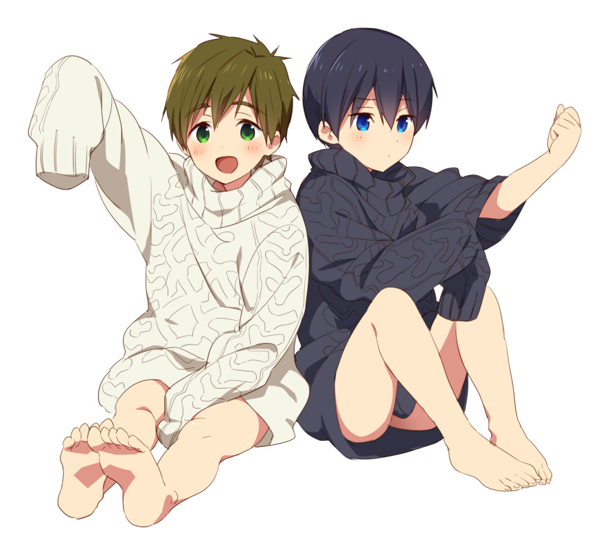 2boys barefoot black_hair blue_eyes blush brown_hair feet free! funikurikurara green_eyes male_focus multiple_boys naked_sweater nanase_haruka_(free!) open_mouth oversized_clothes simple_background sleeves_past_fingers sleeves_past_wrists smile sweater tachibana_makoto white_background