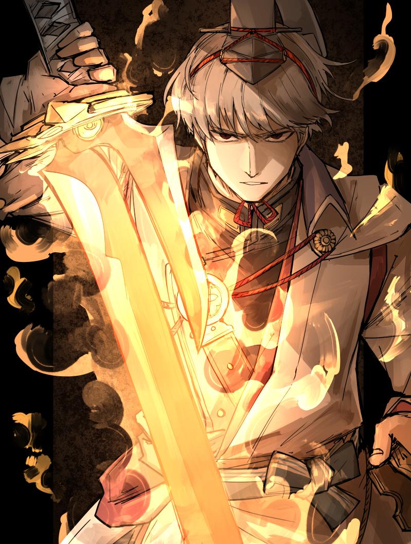 1boy brown_eyes fate/grand_order fate_(series) fire flaming_sword flaming_weapon gloves grey_hair hat kan_(aaaaari35) male_focus single_glove sword watanabe_no_tsuna_(fate) weapon