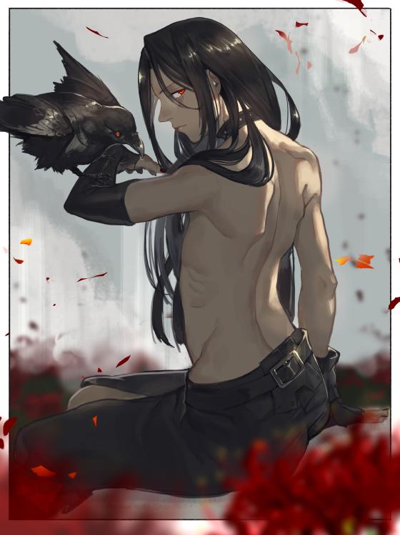 1boy bird black_hair choker crow fingerless_gloves gloves guilty_gear guilty_gear_xx kyo_niku long_hair looking_at_viewer red_eyes testament_(guilty_gear)