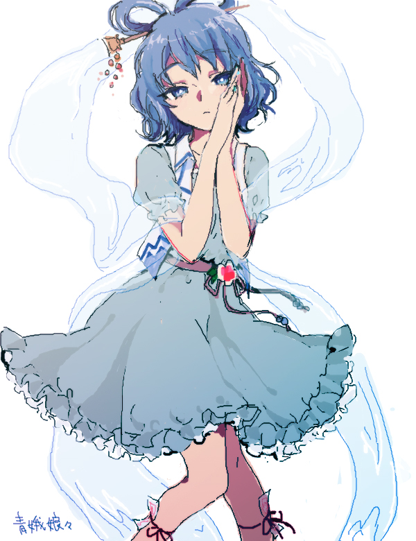 1girl aqua_dress belt blue_eyes blue_hair bright_pupils closed_mouth collarbone commentary dress expressionless eyebrows_visible_through_hair feet_out_of_frame flower frills hagoromo hair_ornament hair_rings hair_stick hands_on_own_face hands_together kaku_seiga knees_together_feet_apart leg_ribbon looking_at_viewer mironomeo ofuda puffy_short_sleeves puffy_sleeves ribbon shawl short_hair short_sleeves signature simple_background solo touhou vest wavy_hair white_background white_vest