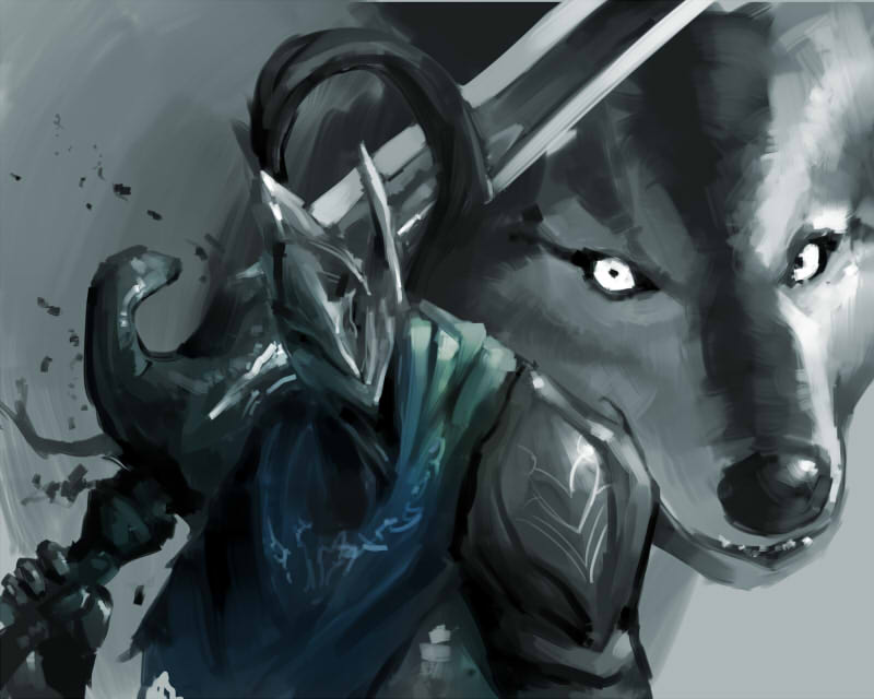 1boy armor artorias_the_abysswalker blue_scarf dark_souls great_grey_wolf_sif helmet holding holding_sword holding_weapon km_yama over_shoulder scarf solo souls_(from_software) sword sword_over_shoulder weapon weapon_over_shoulder wolf