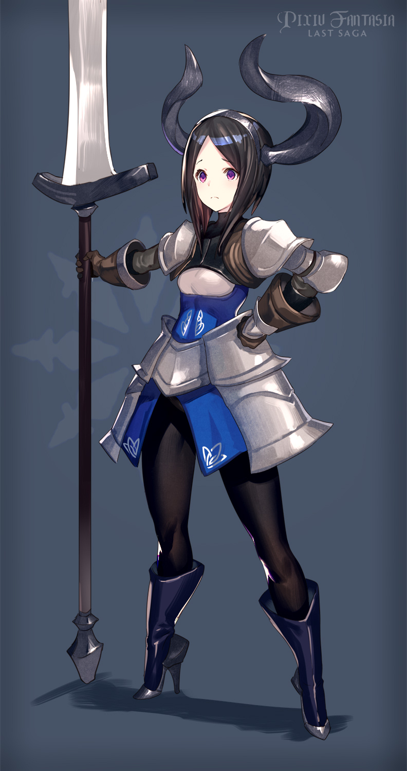 1girl armor bangs black_legwear bob_cut brown_gloves brown_hair closed_mouth copyright_name faulds gloves hairband hand_on_hip high_heels highres holding holding_sword holding_weapon horns huge_weapon inverted_bob km_yama knight pantyhose parted_bangs pixiv_fantasia pixiv_fantasia_last_saga shoulder_armor solo spaulders standing sword violet_eyes weapon