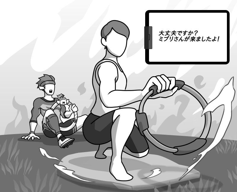 2boys bike_shorts cleats compression_sleeve faceless faceless_male fire grass greyscale headband monochrome multiple_boys open_mouth pointy_ears ring-con ring_fit_adventure ring_fit_trainee squatting surprised tank_top tipp_(ring_fit_adventure)