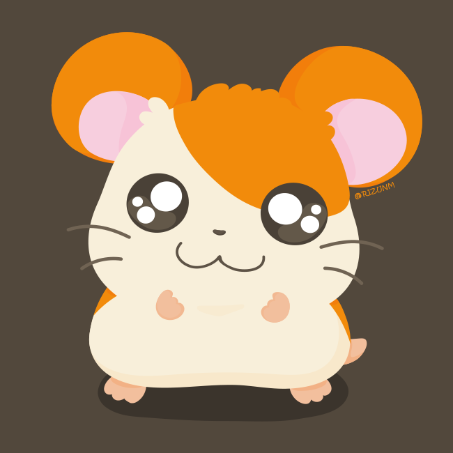 1other :3 adorable animal brown_background closed_mouth commentary_request full_body hamster hamtaro hamtaro_(hamtaro) looking_at_viewer male mammal nintendo no_humans rizu_(rizunm) rodent shadow shogakukan simple_background solo standing tms_entertainment twitter_username whiskers