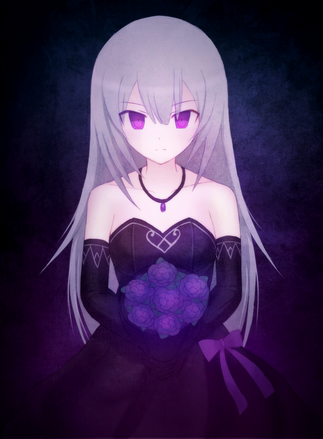 1girl bangs black_dress black_gloves blue_background bouquet bow character_request closed_mouth closers collarbone dress elbow_gloves eyebrows_visible_through_hair flower gloves gothic_lolita hair_between_eyes holding holding_bouquet jewelry lolita_fashion long_hair looking_at_viewer necklace purple_bow purple_gloves red_eyes shiny shiny_hair silver_hair sleeveless sleeveless_dress solo standing straight_hair strapless strapless_dress suta_(clusta) very_long_hair