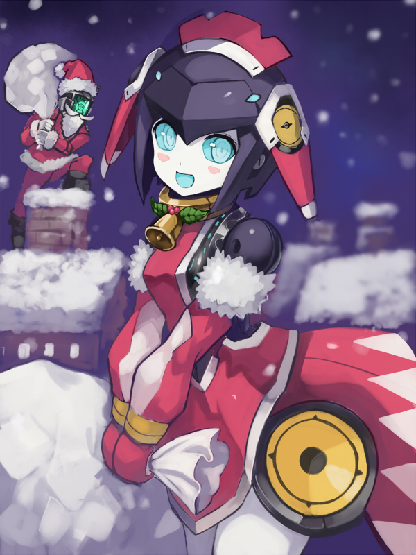1boy 1girl bag dia_(world_flipper) edobox hat holding holding_bag humanoid_robot looking_at_another looking_to_the_side metal_skin no_humans open_mouth regis robot santa_costume santa_hat world_flipper