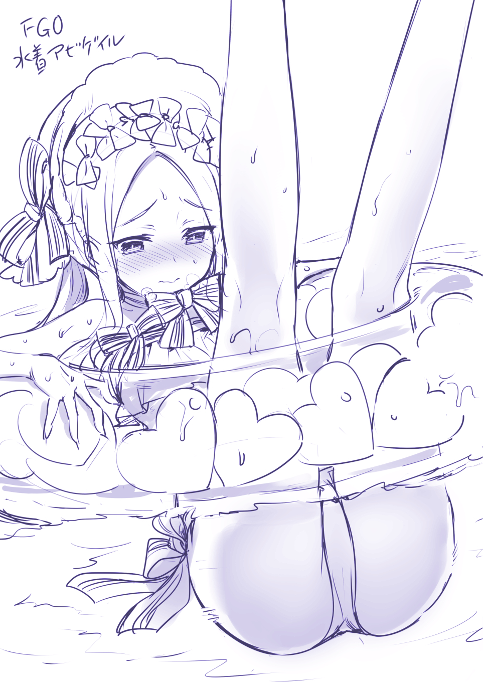 1girl abigail_williams_(swimsuit_foreigner)_(fate) ass blush bonnet commentary_request fate/grand_order fate_(series) forehead highres hisasi innertube long_hair partially_submerged sketch solo swimsuit wet