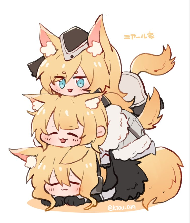3girls animal_ear_fluff animal_ears arknights aunt_and_niece bangs blemishine_(arknights) blonde_hair blue_eyes chibi closed_eyes hat horse_ears horse_girl horse_tail human_stacking kyou_039 lying lying_on_another multiple_girls nearl_(arknights) on_stomach open_mouth siblings simple_background sisters smile stacking tail whislash_(arknights) white_background