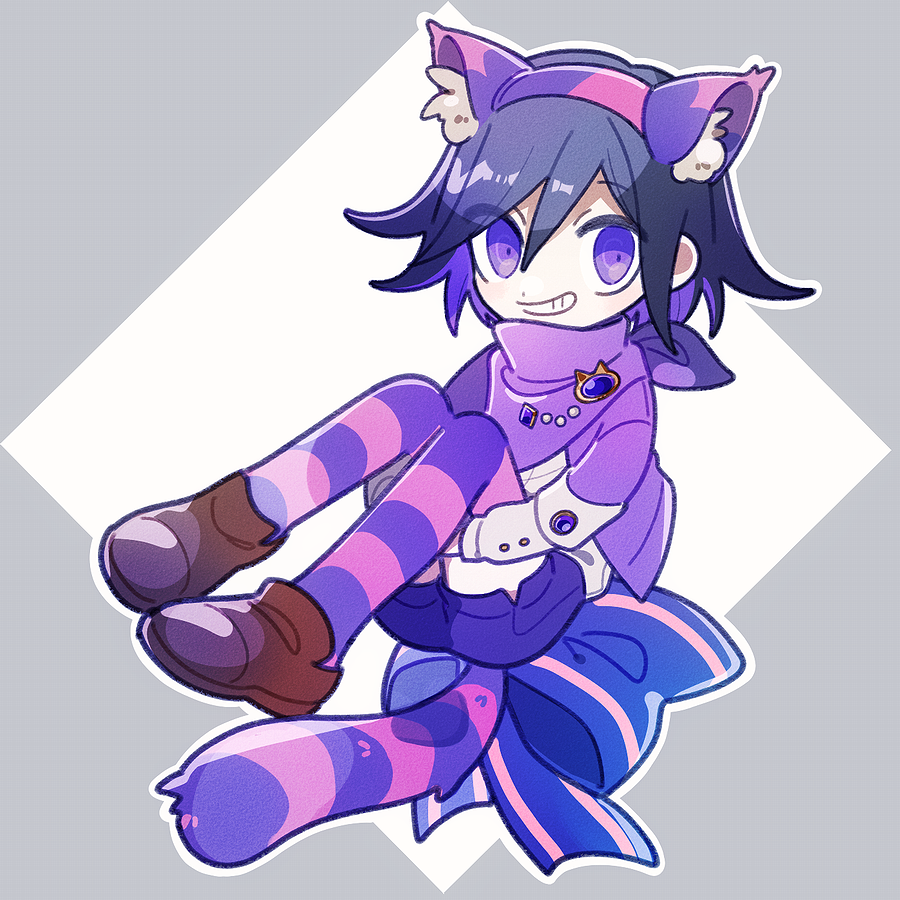1202_koge 1boy alice_in_wonderland animal_ears blue_bow blush border bow brown_footwear cat_ears cheshire_cat cheshire_cat_(cosplay) commentary cosplay danganronpa disconnected_mouth fake_animal_ears full_body grey_border grin hairband jacket looking_at_viewer male_focus new_danganronpa_v3 ouma_kokichi outline outside_border pigeon-toed purple_footwear purple_hair purple_jacket purple_scarf purple_shorts purple_theme scarf shoes shorts simple_background sitting smile solo striped striped_bow striped_legwear striped_tail symbol_commentary tail violet_eyes white_outline