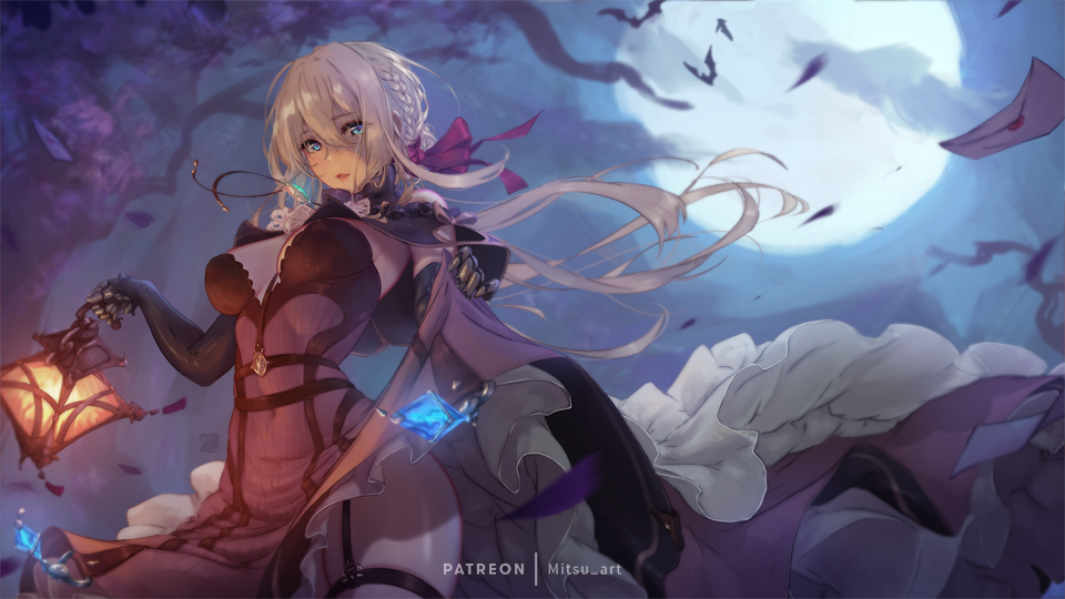 1girl bat blonde_hair blue_eyes bow braid contrapposto cosplay elbow_gloves garter_straps gloves hair_between_eyes lantern letter long_hair looking_at_viewer mitsu_(mitsu_art) moon navel night parted_lips patreon_username prosthesis prosthetic_arm red_bow see-through skirt skirt_lift solo tree vampire violet_evergarden violet_evergarden_(character) wind