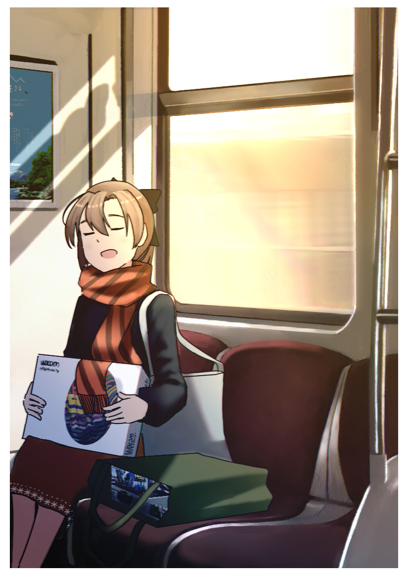 1girl akigumo_(kantai_collection) alternate_costume bag black_sweater box brown_hair closed_eyes commentary_request feet_out_of_frame hair_ribbon kantai_collection long_hair orange_scarf ponytail red_skirt ribbon scarf shopping_bag sitting skirt solo striped striped_scarf sweater timmyyen train_interior window
