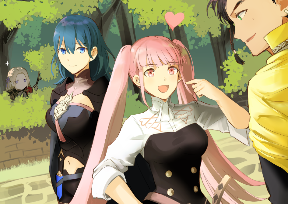 1boy 3girls :d bangs black_shorts blonde_hair blue_eyes braid breasts byleth_(fire_emblem) byleth_eisner_(female) byleth_eisner_(female) cape claude_von_riegan closed_mouth day detached_collar dutch_angle edelgard_von_hresvelg eyebrows_visible_through_hair female_my_unit_(fire_emblem:_three_houses) fire_emblem fire_emblem:_three_houses fire_emblem:_three_houses fire_emblem_16 floating_hair garreg_mach_monastery_uniform green_eyes hair_between_eyes hair_ribbon heart hiding hilda_valentine_goneril index_finger_raised intelligent_systems long_hair medium_breasts midriff moe multiple_girls my_unit_(fire_emblem:_three_houses) navel nintendo open_mouth outdoors pink_eyes pink_hair pointing pointing_at_self purple_ribbon ribbon shiny shiny_hair shirt shoochiku_bai short_shorts shorts sleeves_rolled_up smile standing stomach twintails very_long_hair white_shirt yellow_cape