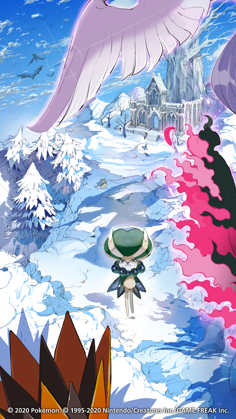 bare_tree building calyrex clouds corvisquire dated day galarian_articuno galarian_form galarian_moltres galarian_zapdos gen_8_pokemon highres legendary_pokemon no_humans official_art outdoors pokemon pokemon_(creature) rookidee sky snow stairs tree watermark