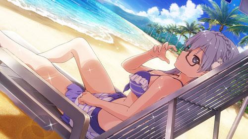 22/7 bikini glasses long_hair maruyama_akane purple_hair
