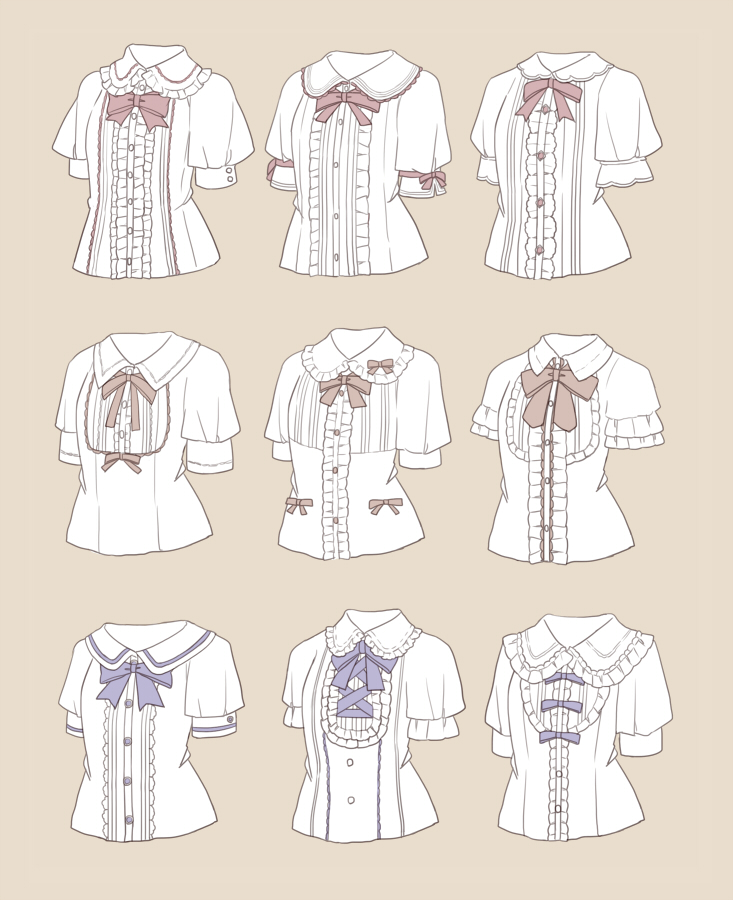blouse blue_neckwear bow bowtie brown_background collared_blouse cross-laced_clothes frilled_blouse frills nanananoka neck_ribbon no_humans orange_neckwear original red_neckwear ribbon signature simple_background variations white_blouse