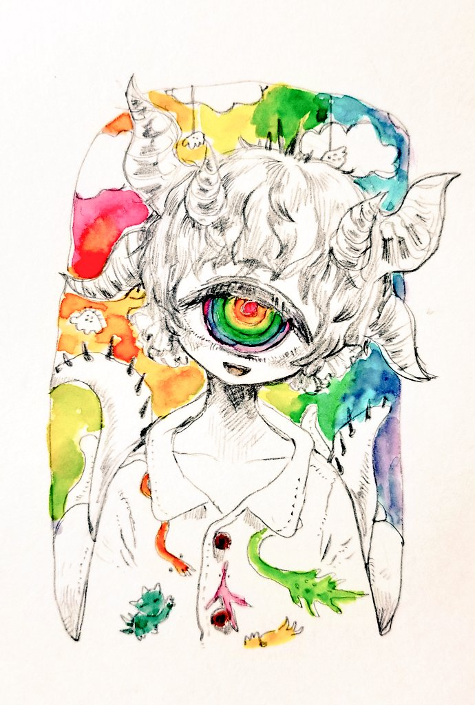 1other :d ambiguous_gender blush colorful cyclops head_tilt horns looking_at_viewer multicolored multicolored_background multicolored_eyes multiple_horns one-eyed open_mouth original photo_(medium) rainbow_gradient red_pupils ringed_eyes shima_(wansyon144) short_hair smile traditional_media