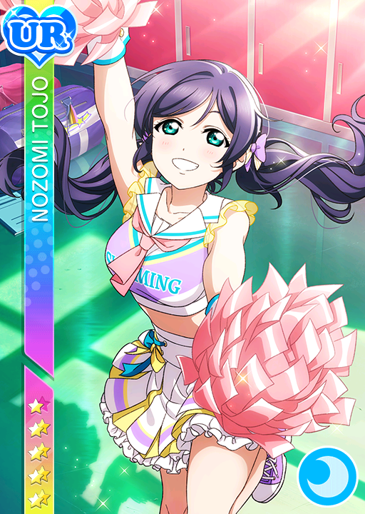 blush character_name cheerleader dress green_eyes long_hair love_live!_school_idol_festival love_live!_school_idol_project purple_hair smile toujou_nozomi twintails