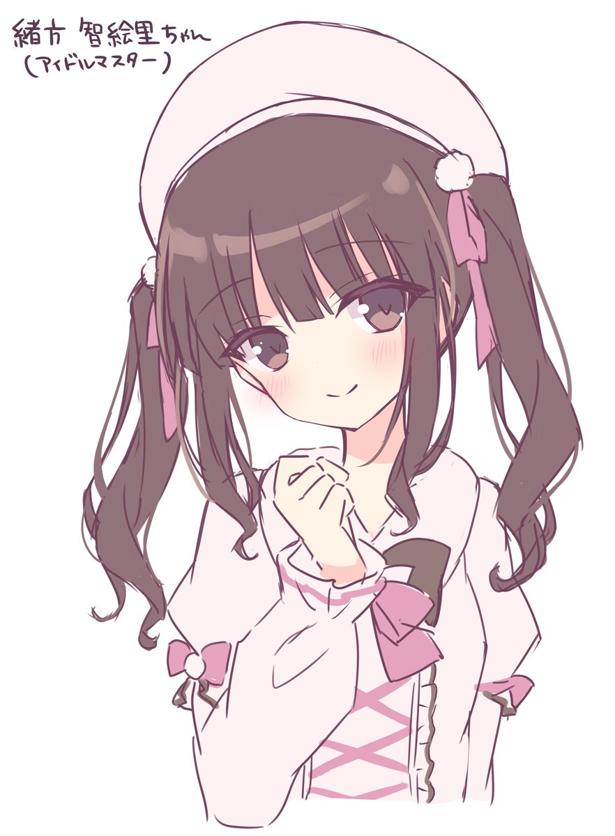 1girl bangs beret blush brown_eyes brown_hair closed_mouth collared_dress commentary_request cropped_torso dress eyebrows_visible_through_hair hair_ribbon hand_up hat head_tilt highres hoshi_(snacherubi) juliet_sleeves long_sleeves looking_at_viewer original pink_dress pink_headwear pink_ribbon puffy_sleeves ribbon simple_background smile solo translation_request twintails upper_body white_background