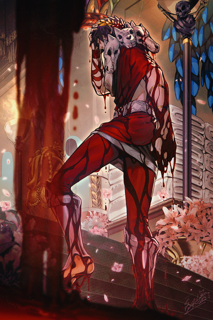 1boy black_hair blood closed_eyes flower greek_clothes hades_(game) hand_on_own_head highres jiao_mao laurel_crown leggings male_focus petals skull stairs towel walking zagreus_(hades)
