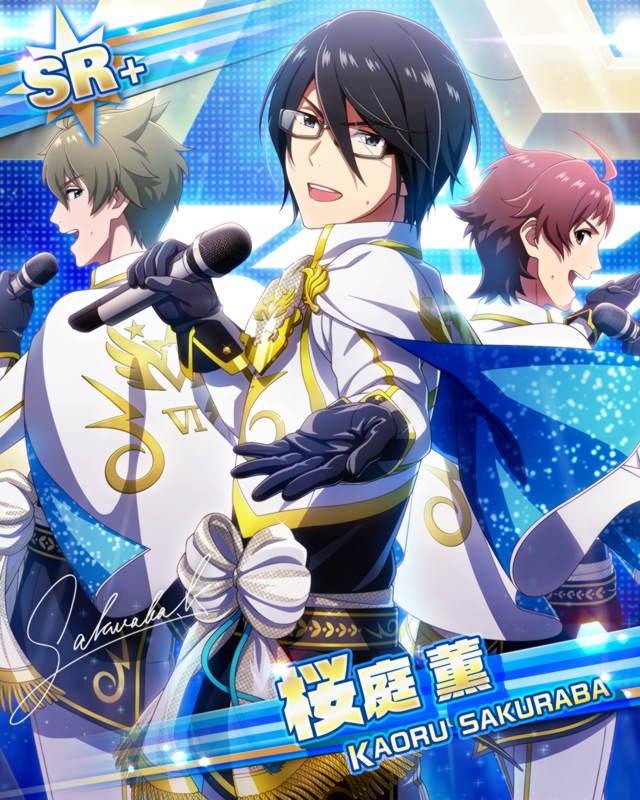 black_hair blue_eyes cape character_name dress glasses idolmaster idolmaster_side-m sakuraba_kaoru short_hair smile