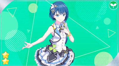 blue_eyes blue_hair blush dress kiritani_haruka project_sekai short_hair