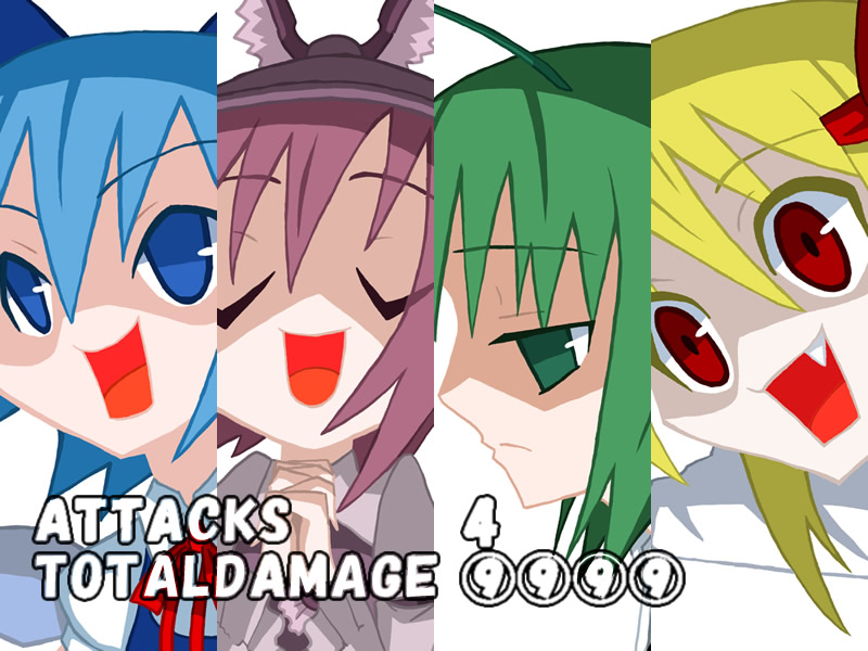 4girls antennae blue_hair bow cirno column_lineup cut-in disgaea fang green_eyes green_hair hair_bow ke-su multiple_girls mystia_lorelei open_mouth parody purple_hair red_eyes rumia team_9 touhou wriggle_nightbug yellow_eyes ⑨