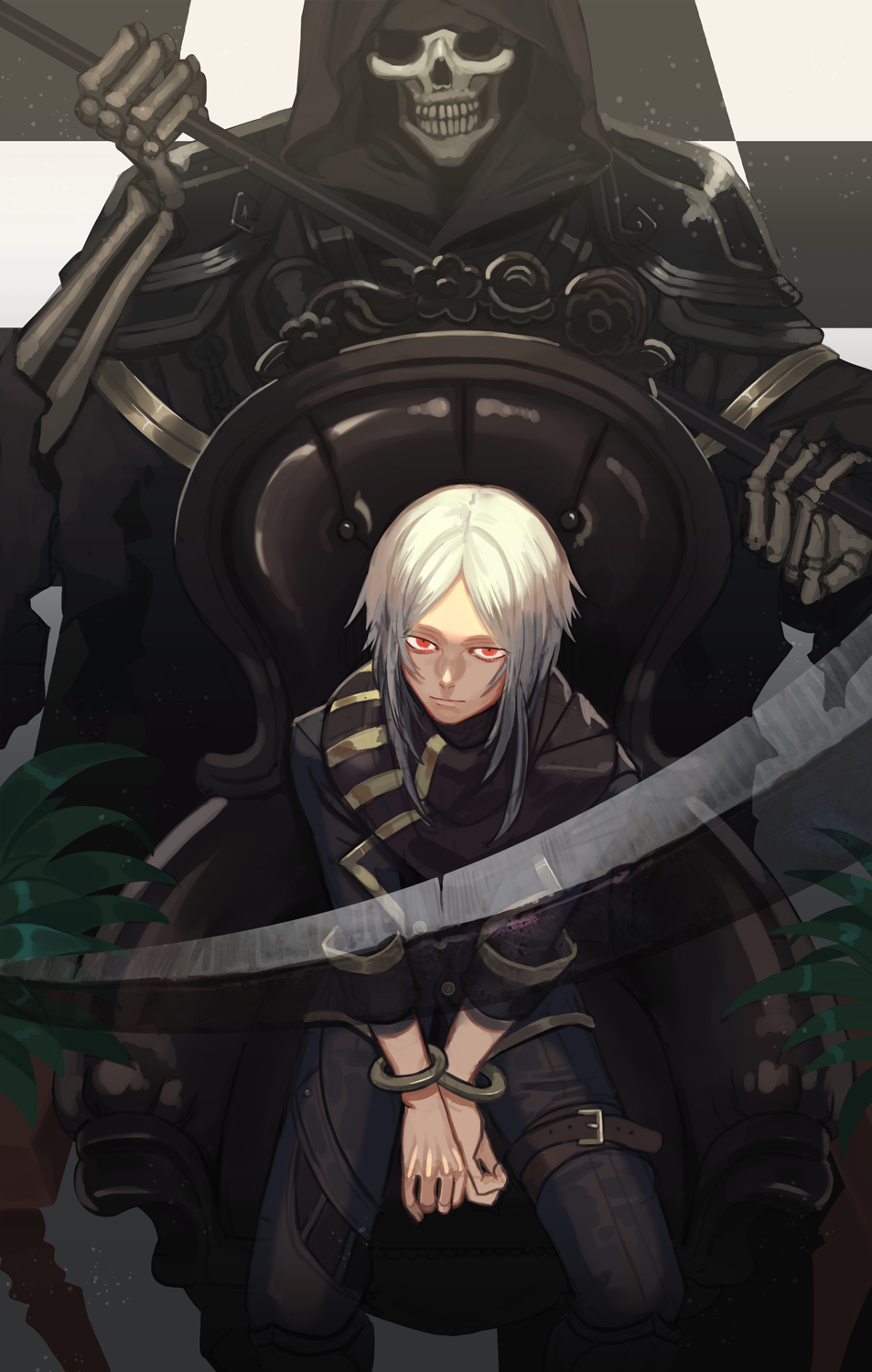 1boy armor blue_pupils bound bound_wrists brown_scarf chair checkered checkered_floor closed_mouth death_(entity) fingernails grim_reaper highres holding holding_scythe holding_weapon hood hood_up kyo_niku looking_at_viewer male_focus medium_hair original pauldrons plant potted_plant red_eyes scarf scythe shinigami shoulder_armor sitting skeleton sleeves_rolled_up striped striped_scarf thigh_strap torn torn_clothes transparent weapon white_hair