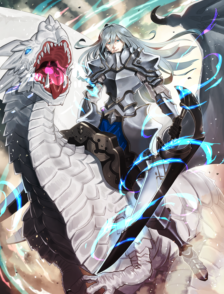1boy armor aura black_gloves blue_eyes brace breastplate closed_mouth dragon dragon_riding dual_wielding gloves glowing glowing_eye greaves grey_hair hair_between_eyes half-closed_eyes holding holding_sword holding_weapon knight kyo_niku long_hair open_mouth original pauldrons riding saddle sharp_teeth shoulder_armor sword teeth tongue tongue_out weapon