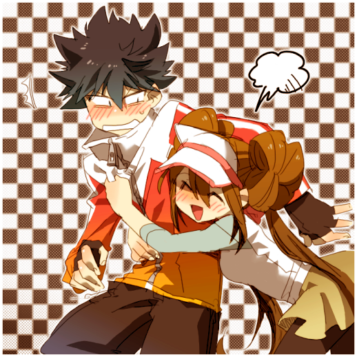 1boy 1girl black_hair blush brown_hair brown_pants checkered checkered_background closed_eyes commentary_request dknj double_bun embarrassed happy hugh_(pokemon) jacket long_hair open_mouth pants pokemon pokemon_(game) pokemon_bw2 rosa_(pokemon) shirt sidelocks sleeves_past_elbows smile tongue visor_cap zipper_pull_tab