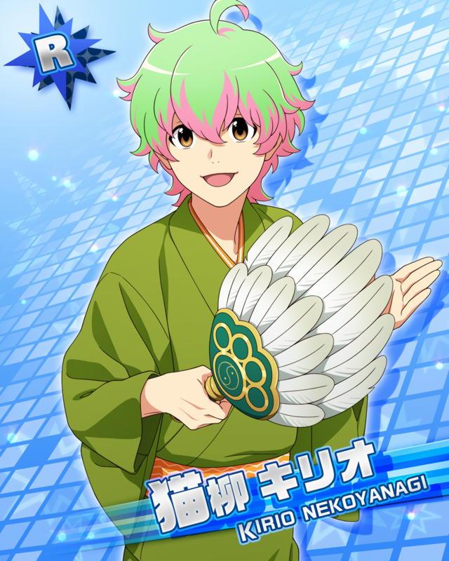 blonde_hair character_name idolmaster idolmaster_side-m nekoyanagi_kirio red_eyes short_hair smile yukata