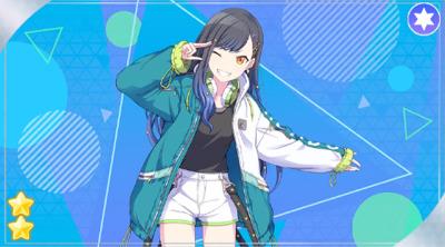 black_hair blush jacket long_hair project_sekai red_eyes shiraishi_an smile wink