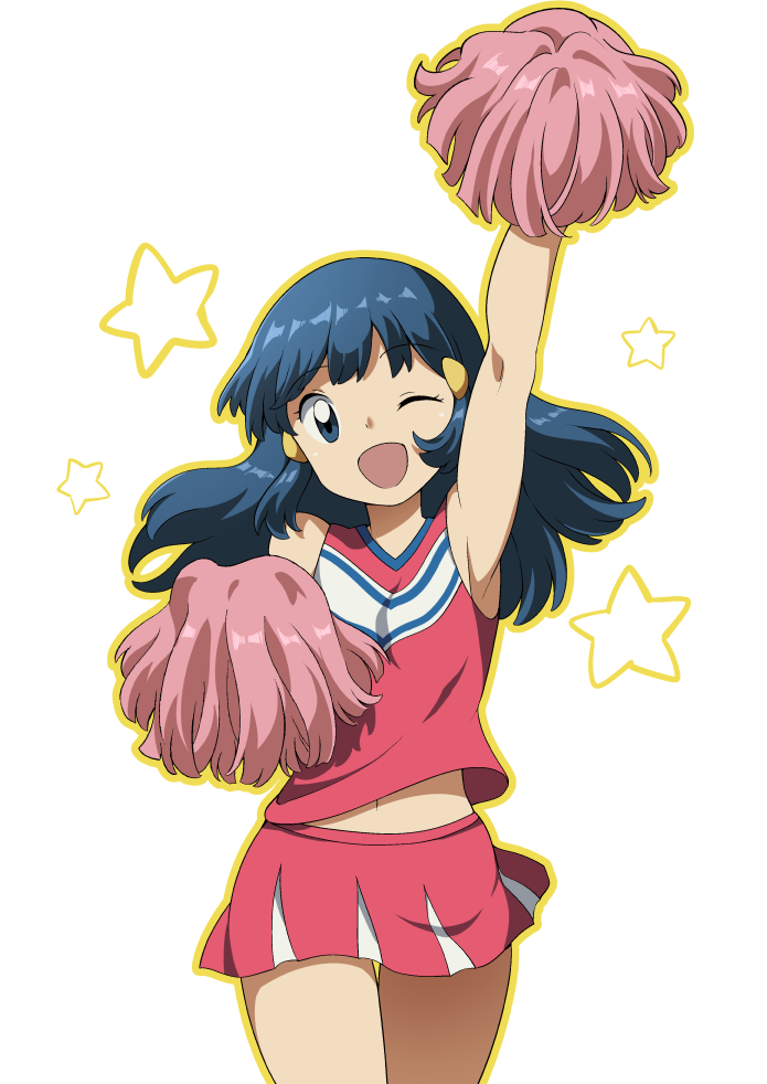 1girl arm_up armpits bangs bare_arms blue_hair cheerleader commentary dawn_(pokemon) eyebrows_visible_through_hair eyelashes floating_hair hair_ornament hairclip head_tilt long_hair looking_at_viewer navel one_eye_closed open_mouth outline pink_shirt pink_skirt pokemon pokemon_(anime) pokemon_dppt_(anime) pom_poms shirt sidelocks skirt sleeveless sleeveless_shirt smile solo star_(symbol) suitenan white_background