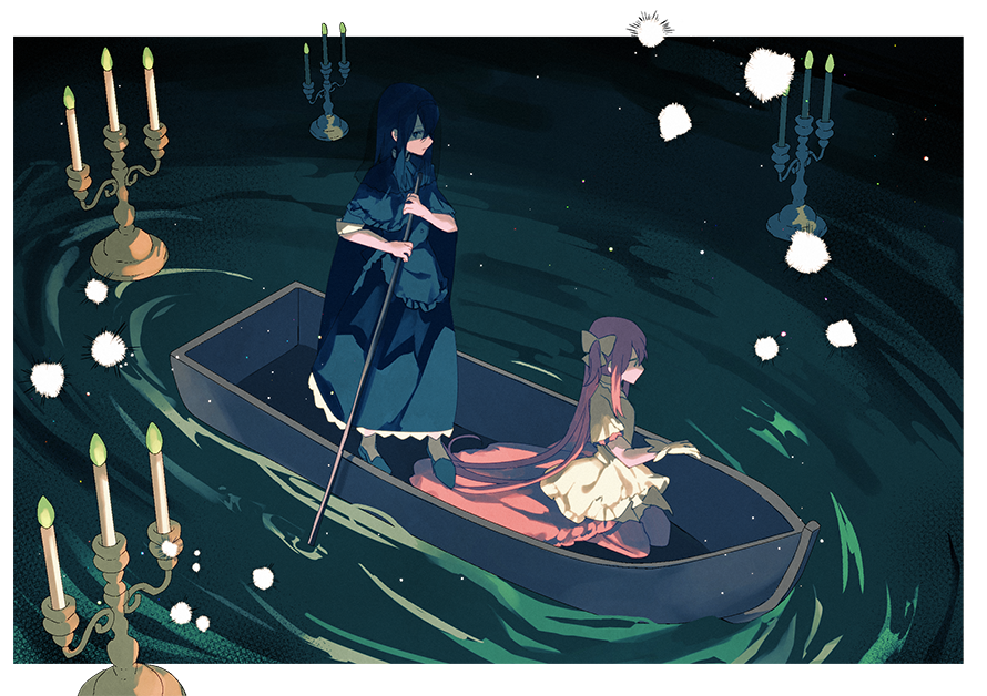 2girls akemi_homura black_capelet black_dress black_footwear black_hair black_veil boat candle candlestand capelet dark_background darkness dress empty_eyes expressionless facing_away facing_viewer from_above funeral_dress gloves goddess_madoka hair_ribbon holding holding_oar homulilly kaname_madoka kneeling layered_dress light_particles long_hair looking_to_the_side mahou_shoujo_madoka_magica mahou_shoujo_madoka_magica_movie multiple_girls no_mouth oar pc_(z_yu) pink_hair pink_legwear profile ribbon ripples rowboat shaded_face standing thigh-highs veil very_long_hair water watercraft white_dress white_gloves white_ribbon wide_shot wide_sleeves