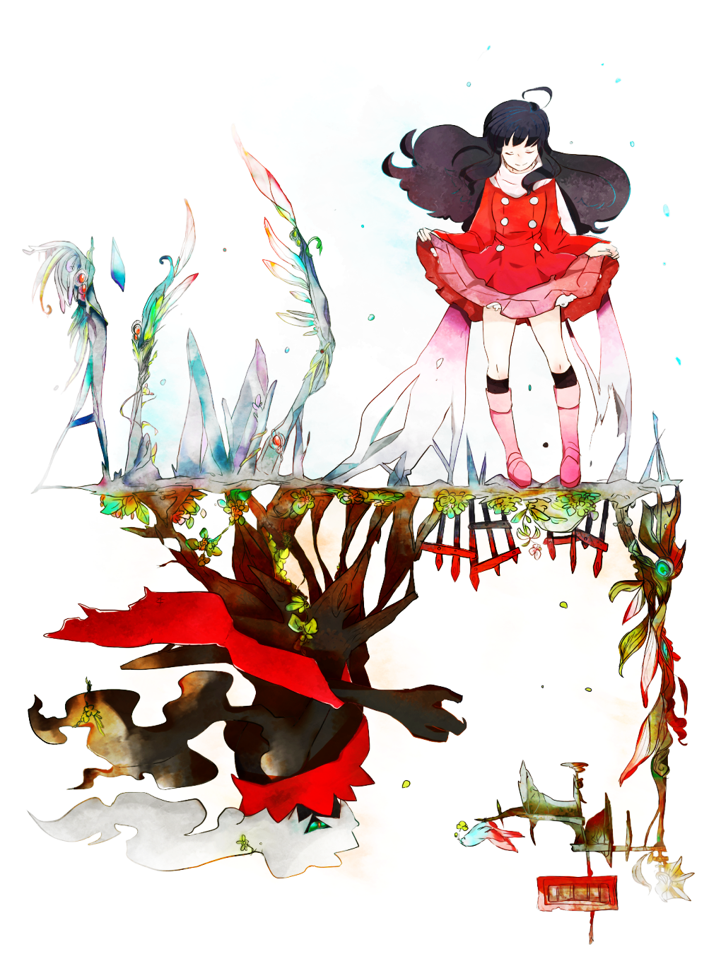 1girl ahoge black_hair black_legwear boots buttons closed_eyes closed_mouth coat commentary_request darkrai dawn_(pokemon) floating_hair gen_4_pokemon head_down highres long_hair long_sleeves mythical_pokemon pink_footwear pokemon pokemon_(creature) pokemon_(game) pokemon_dppt pokemon_platinum red_coat siroirohituji smile socks standing