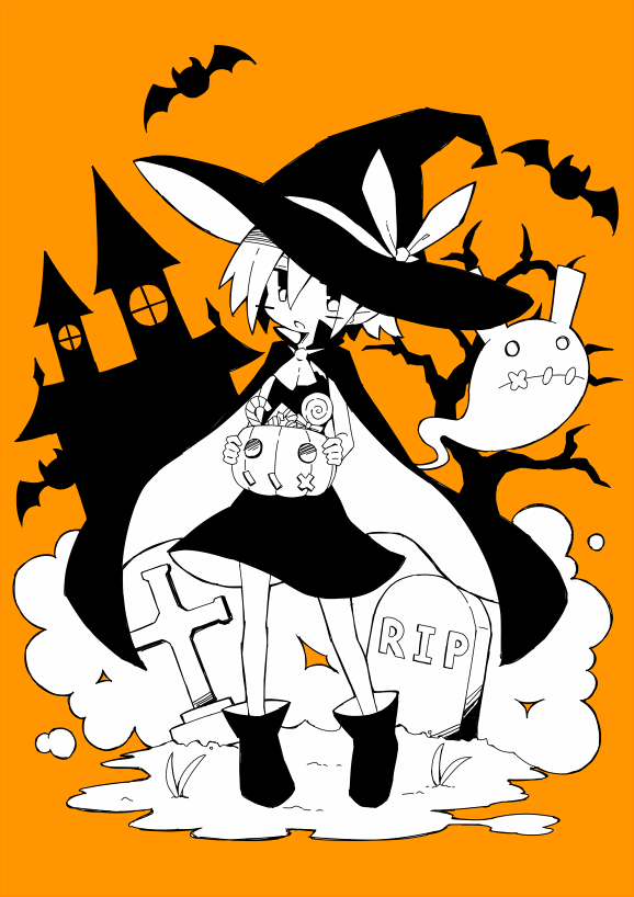 1girl asameshi bat black_dress black_footwear black_headwear blush_stickers boots borrowed_character bucket building candy candy_cane cape commentary_request cross dress food full_body ghost hat hat_ribbon holding holding_bucket jack-o'-lantern lollipop looking_at_viewer monochrome open_mouth orange_background original pleinair pointy_ears rabbit ribbon short_hair stitched_mouth stitches swirl_lollipop tombstone tree usagi-san witch_hat