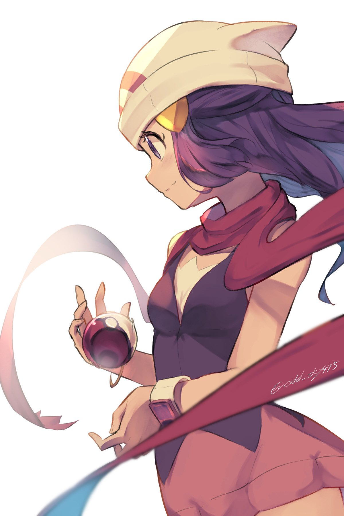 1girl artist_name beanie blush closed_mouth commentary_request dawn_(pokemon) eyelashes floating_hair grey_eyes hat highres holding holding_poke_ball light_smile long_scarf odd_(hin_yari) poke_ball poke_ball_(basic) pokemon pokemon_(game) pokemon_dppt purple_hair red_scarf scarf solo watermark white_background white_headwear