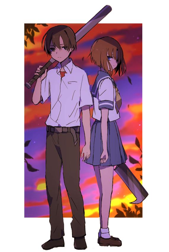 1boy 1girl blue_eyes hatchet higurashi_no_naku_koro_ni hiiragi_fuyuki maebara_keiichi nose_hatchet orange_hair ryuuguu_rena school_uniform short_hair