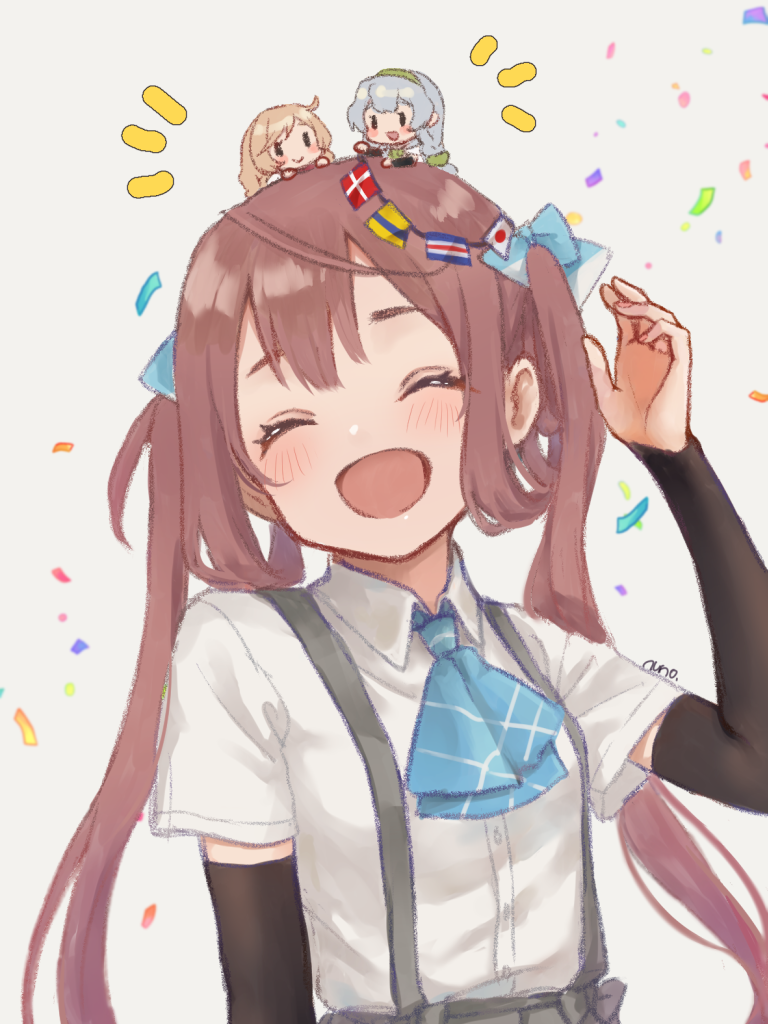 3girls ^_^ arm_up arm_warmers asagumo_(kantai_collection) ascot bangs blue_neckwear blush brown_hair chibi chibi_on_head closed_eyes collared_shirt commentary_request confetti danish_flag dress_shirt eyebrows_behind_hair facing_viewer grey_background grey_hair grey_skirt hair_rings head_tilt japanese_flag kantai_collection light_brown_hair long_sleeves minegumo_(kantai_collection) minigirl multiple_girls notice_lines nuno_(pppompon) on_head pleated_skirt shirt short_sleeves signature simple_background skirt string_of_flags suspender_skirt suspenders twintails upper_body white_shirt yamagumo_(kantai_collection)